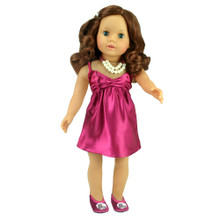 "Berry Satin Dress and Necklace For 18"" Dolls"