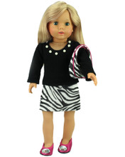 "Sophia's Black Knit Top & Zebra Skirt Fits 18"" Dolls"