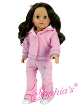 Light Pink Velour Sweatsuit Fits 18 Inch American Girl Dolls Clothes