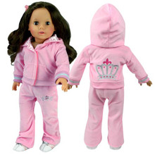 "Light Pink Velour Sweatsuit Fits 18"" Dolls"