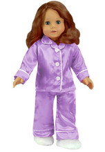 Lavender Satin Pj's with White Fluffy Slippers