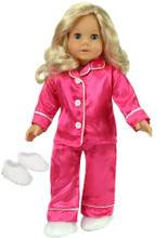"Sophia's Hot Pink Satin Pj's with White Fluffy Slippers fits 18"" Dolls"