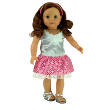 "Pink Sequin Skirt & Silver Tank Fits 18"" Dolls"