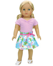 Floral Pleated Skirt & Lavender Shirt fits American Girl Dolls