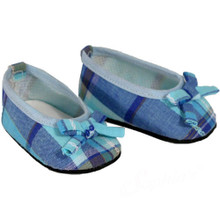 Blue Plaid Ballerina Flat Fits 18 Inch American Girl Doll Shoes