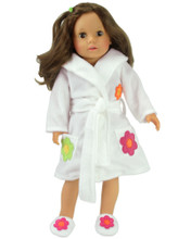 "Sophia's White Robe & Slippers fits 18"" Dolls"