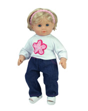"Ruffled Flower Tee & Denim Jean Set For 15"" Baby Dolls"