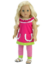 A Line Ruffle Dress w/Striped Leggings Fits 18 Inch American Girl Dolls