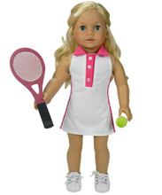Tennis Dress & Tennis Racquet Set Fits 18 Inch American Girl Dolls Clothes