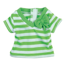 "18"" Doll Tee Lime Green Short Sleeved Stripe Tee w/ Bow"