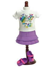 "Graphic T & Purple Skirt Fits 18"" American Girl Doll"