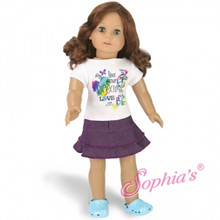 Graphic T &amp; Purple Skirt Fits 18 Inch American Girl Dolls Clothes Outfit