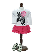 "Long Sleeve Zebra Tee & Hot Pink Tiered Skirt Fits 18"" American Girl Dolls"