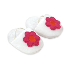 "18"" Doll White Slippers with Fuchsia Flower"