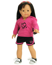 "18"" Hot Pink Sweatshirt & Black Sport Shorts fits American Girl Doll"