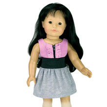 "18"" Lavender & Gray Doll Dress fits American Doll Dresses"
