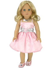 "Light Pink Satin Party Dress & Necklace Fits 18""  Dolls"