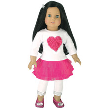"Heart Tee, Tulle Skirt & White Sequin Trim Leggings Fits 18"" American Girl Dolls"
