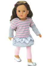 "Pink and Gray Stripe Dress & Pink Leggings For 18"" Dolls"