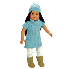 "18"" Doll Cable Knit Sweater Dress, Hat & Snowflake Leggings"