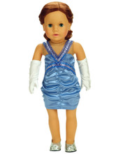 Periwinkle Satin Ruched Dress & Gloves Fits 18 Inch American Girl Dolls Clothes