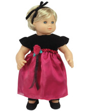 Burgundy Holiday Dress Fits 15 Inch Dolls