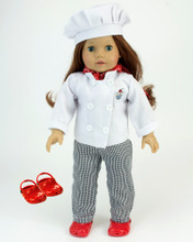 5 Pc Chef Costume  Baking Chef Outfit with Red Polliwogs