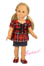 Red Plaid Ruffle Blouse with Denim Skirt and Red Plaid Shoes
