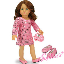 """3 Pc Dress Set Sequin Tunic Dress, Purse and Pink Glitter Shoes fits 18"""" American Girl Dolls"""