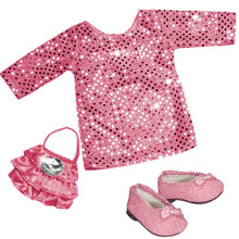 "3 Pc Dress Set Sequin Tunic Dress, Purse and Pink Glitter Shoes fits 18"" American Girl Dolls"