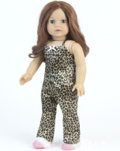 3 Pc PJ Set Leopard Print Pajamas and Fur Trim Slippers fits American Girl 18 Inch Dolls
