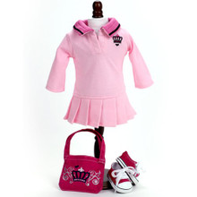 "3 Pc Dress Set  Polo Dress, Crown Logo Bag, and Pink Sneakers fits American Girl 18"" Dolls"