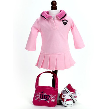 """Sophia's Polo Dress, Crown Logo Bag, and Pink Sneakers Set fits 18"""" Dolls"""
