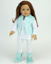 "4 Pc 18"" Pant Set  Fur Vest, Tee, Leggings and Aqua Fur Boots fits American Girl 18"" Doll"