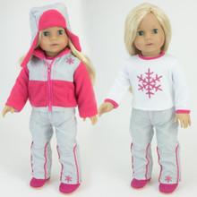 "4 Pc Set Snowboard Pants and Tee, Snowflake Jacket and Hat fits American Girl 18"" Dolls"