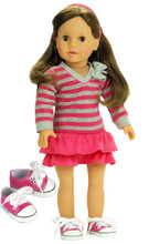 "3 Pc Skirt Set Pink & Gray Striped Shirt, Pink Skirt, and Sneakers fits 18"" American Girl Dolls"