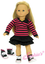 3 PC Skirt Set  Striped Shirt, Black Skirt, and High Top Sneakers fits 18 in American Girl Dolls