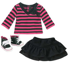 Striped Shirt, Black Skirt, and High Top Sneakers Set for 18 Inch Dolls