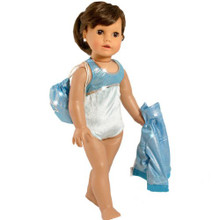 "18"" Doll Aqua Gymnastics Leotard, 3 Pc Set Fits American Girl"