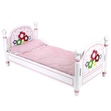 "White Hand-Painted Single Bed and Bedding Fits 18"" Dolls"