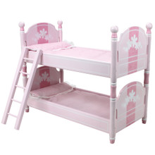 "Pink Handpainted Bunk Bed and Bedding 18 Inch Doll Furniture Fits 18"" American Girl Dolls"