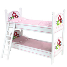 "White Hand-Painted Bunk Bed, Ladder, and Bedding Fits 18"" Dolls"