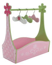 Hand Painted Wooden Dress Rack with Hangers for 18 Inch Doll Clothes