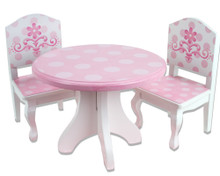 "Pink & White Hand Painted Wooden Dining Table & Chair Set 18 Inch Doll Furniture Fits 18"" American Girl Dolls"