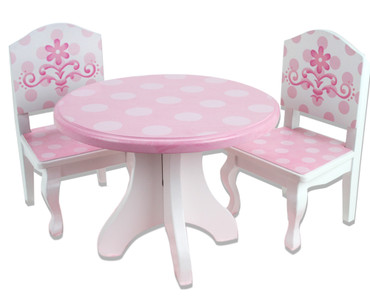 Pink White Hand Painted Wooden Dining Table Chair Set For 18