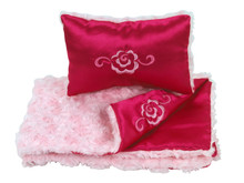 "Pink Fur & Satin Reversible Bedding Set For 18"" Doll Furniture"