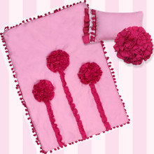 "Pink Rosette Reversible Bedding Set For 18"" Doll Furniture"