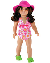 "Sophia's One-Piece Print Tank Bathing Suit & Hat Set Fits 18"" Dolls"