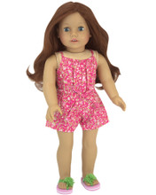 "18"" Doll One Piece Pink Floral Print Jumper fits American Girl Clothes"