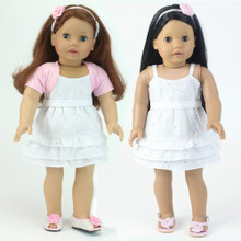 "White Eyelet 18"" Doll Dress 3 Pc Set fits American Girl Doll Dresses"